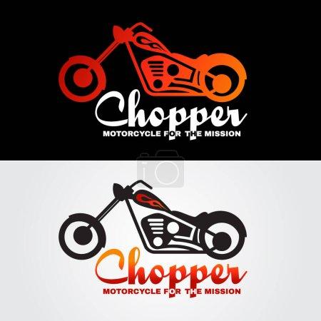 Illustration for Orange white black Chopper motorcycle logo vector design - Royalty Free Image