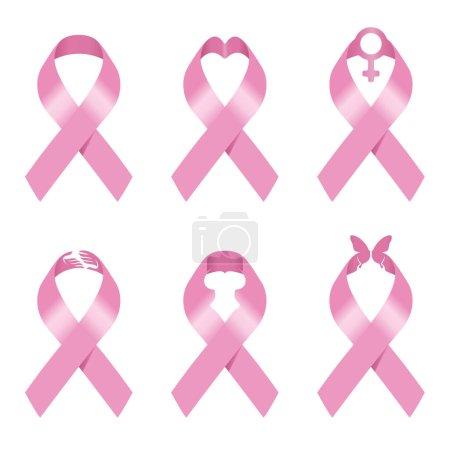 Illustration pour Signe de ruban rose vectoriel illustration set design pour la sensibilisation au cancer du sein - image libre de droit