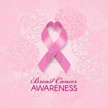 Illustration pour Sensibilisation au cancer du sein avec ruban coeur rose et rose tendre illustration vectorielle abstraite de fond rose - image libre de droit