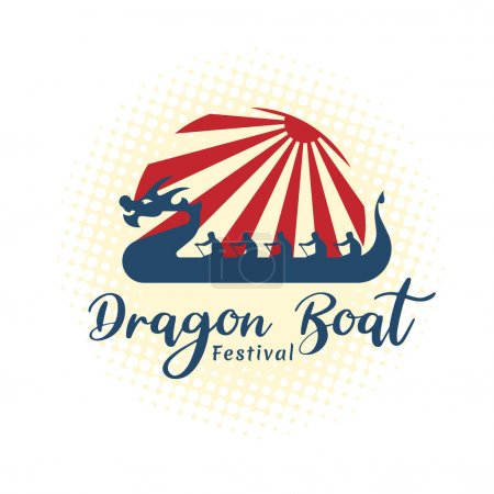 Dragon boat festival banner with blue dragon china...