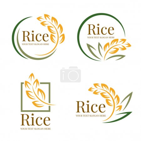 Illustration pour Rice logo organic grain wheat with yellow green paddy rice and leaves collection vector design - image libre de droit