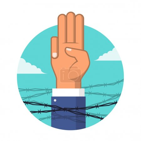 Illustration for Anti dictatorship concept with Three Finger Salute surrounded by barbed wire vector design - Royalty Free Image