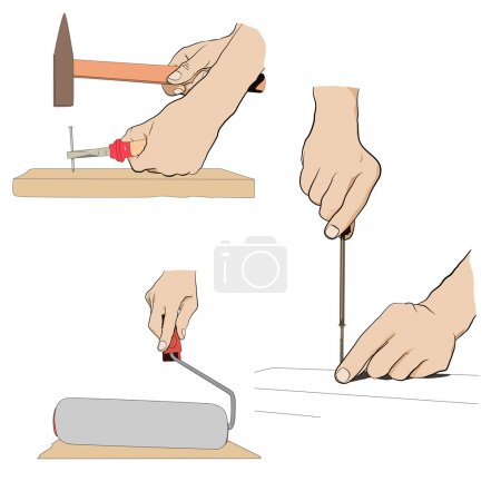 Illustration for Collection - hand with tool. Industrial set icon - Royalty Free Image