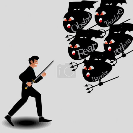 Businessman Fighting With Monster From Obstacle Of Work. Vector