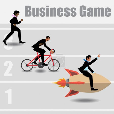 Race Of Businessmen Go To The Success.
