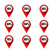 Set of red map pointers with different percentage Isolated on white background Various percentage discount concept elements