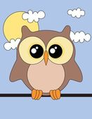 Cute owl sun and clouds Vector illustration