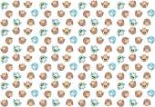 Seamless pattern with cute blue and brown owls on white