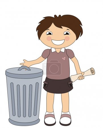 Illustration for Smiling cartoon girl throwing out the trash isolated on white - Royalty Free Image