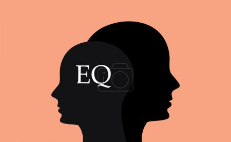 Illustration for Eq emotional question with sillhouette human brain head with orange background - Royalty Free Image