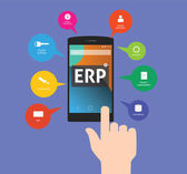 Erp - enterprise resource planning using mobile technology on application