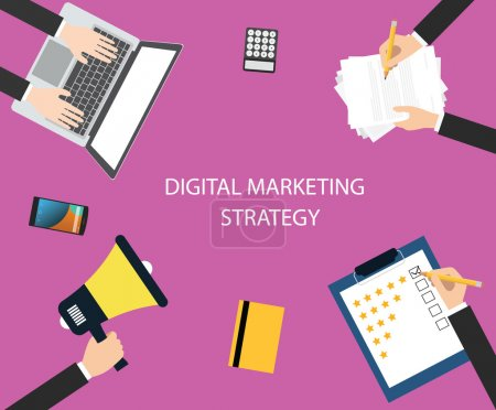 Illustration pour Digital marketing stratégie colaborer avec l'équipe à l'aide de supports marketing pour augmenter les ventes, communications et promotions - image libre de droit