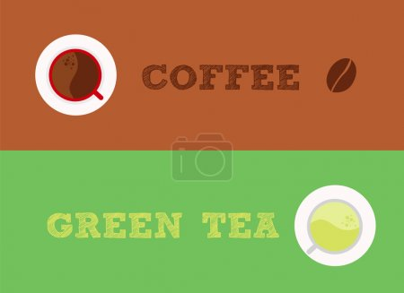 Illustration for Comparable between coffee and green tea, which one do you choose - Royalty Free Image
