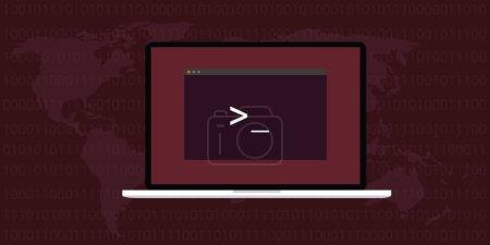 Linux interface screen notebook and world map ubun...