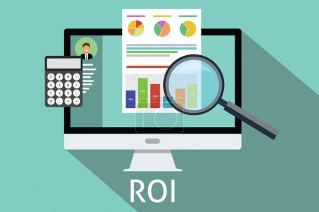 Illustration for Roi return on investment computer calculator magnifying glass - Royalty Free Image