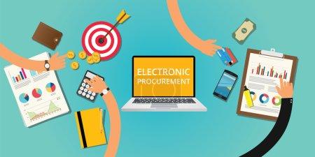 Illustration pour Concept d'achat électronique avec argent et achat sur Internet - image libre de droit