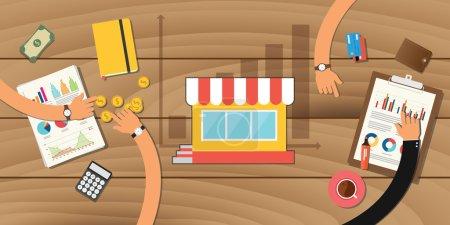 Illustration pour Magasin de croissance des petites entreprises avec graphique et travail d'équipe à développer ensemble - image libre de droit