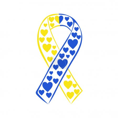 World down syndrome day yellow blue ribbon. Vector yellow blue ribbon. March 21 date