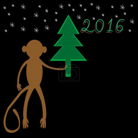 Monkey with a Christmas tree a symbol of 2016