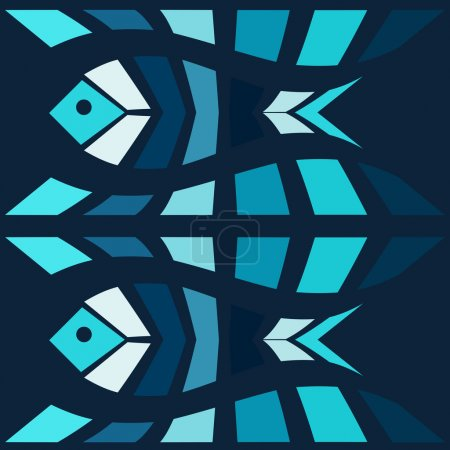 Blue fish mosaic vector background. Natural seamle...