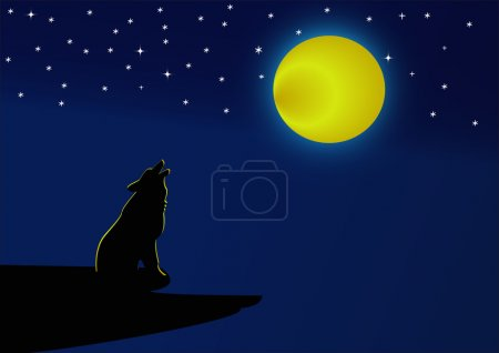 Wolf howling at the full moon at night