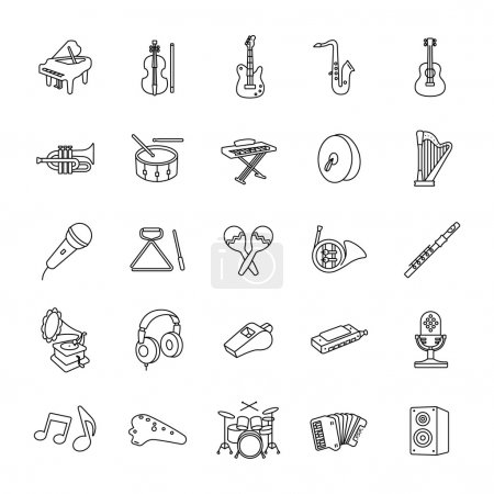 Music outlines vector icons