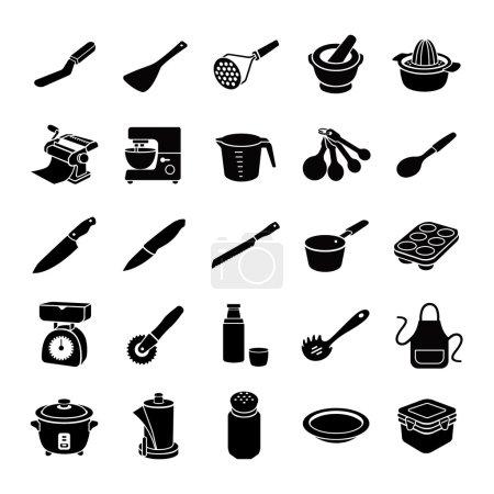 Kitchenware II glyph vector icons