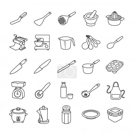 Kitchenware II outlines vector icons
