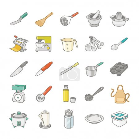 Kitchenware II color vector icons