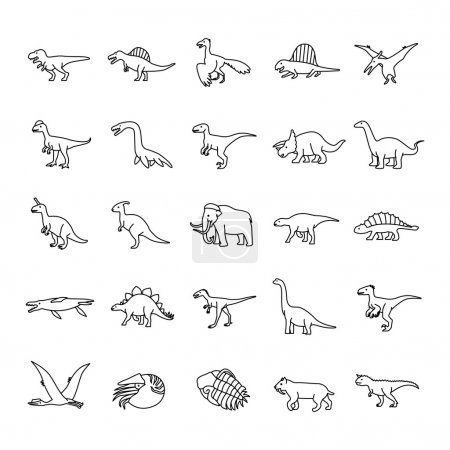 Illustration for Prehistoric Animals Outlines vector icons - Royalty Free Image