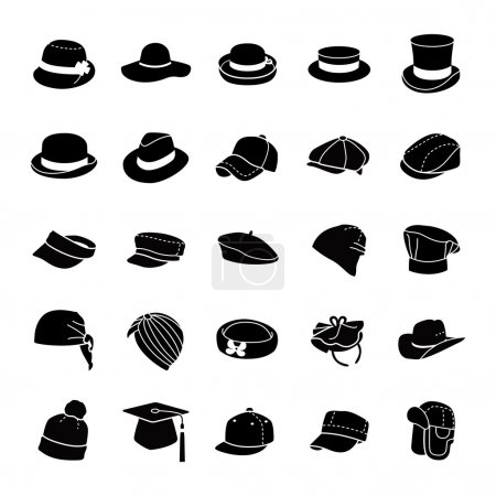 Hats glyph vector icons