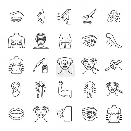 Illustration for Plastic surgery outlines vector icons - Royalty Free Image
