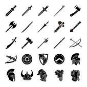 Zbraně a brnění glyf vektorové ikony
