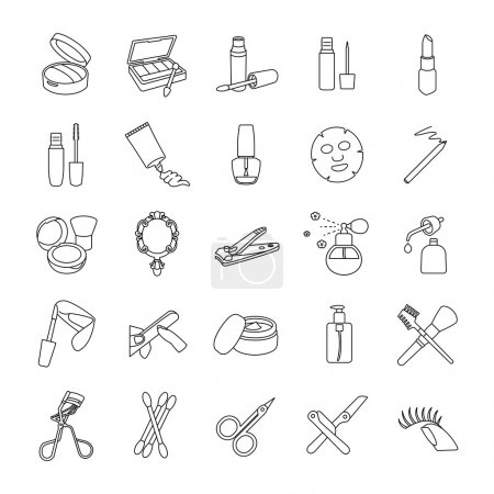 Beauty products outlines vector icons