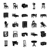 Furniture glyph vector icons