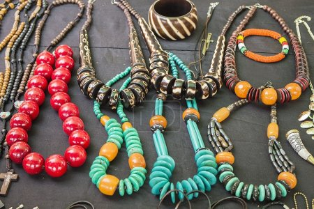 African traditional handmade bright colorful beads bracelets, necklaces, pendants. Craftsmanship. African fashion. Traditional ornament  accessories.