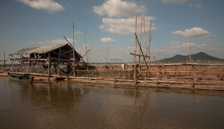 Facilities for industrial fishing fishing cooperative on Tonle Sap Lake in Cambodia