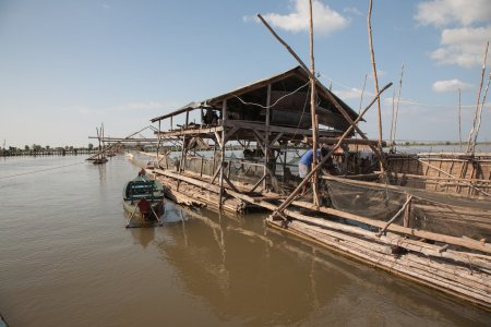 Buildings and structures for industrial fishing fishing cooperative on Tonle Sap Lake in Cambodia.