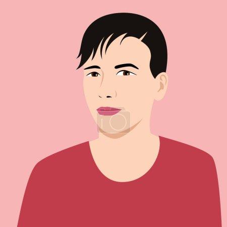 Photo pour Portrait d'un jeune homme. Apparence asiatique. Illustration à plat vectoriel. - image libre de droit