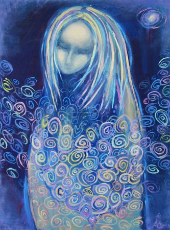 Photo pour En attente de naissance. Belle peinture acrylique sur toile d'une mystérieuse femme vêtue de bleu, entourée de fleurs abstraites, à la lumière de l'étoile sur fond de nuit. portrait dessiné à la main . - image libre de droit