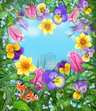 Daylight meadow color background. Idealistic tranquil image. Beautiful multicolored flowers and insects on a background of blue windless sky with clouds.