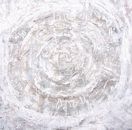 Acrylic painting. Fiery circles on textured background. Ragged old plaster background. Grunge cracked concrete wall. The wall texture with cracked plaster and whitewash. Mystical eye.