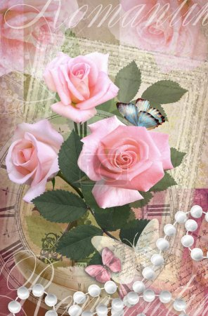 Postcard flower. Romantic beautiful congratulations card design with roses, butterflies and pearl necklace. Can be used as greeting card, invitation for wedding, birthday and other holiday happening.