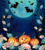 Happy Halloween illustration. Spooky background with autumn valley. Bats flying in the night over dark forest with pumpkins in the fallen leaves on a full moon background. Space for your text
