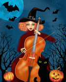 Mysterious red-haired woman in a witch-cap plays the cello in the dark forest. Flying bats, orange pumpkins and black cat. Happy Halloween illustration.