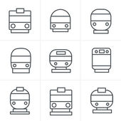 Line Icons Style Set of transport icons - Train and Tram vector