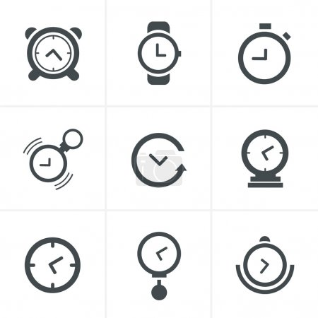 Time Clock Icons Set, Vector Design