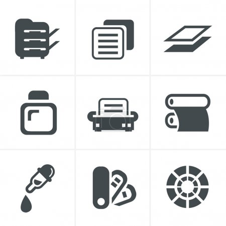 Print icons set elegant series