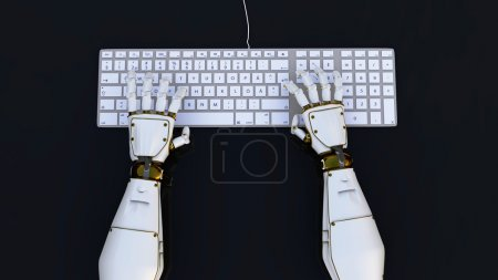 Photo for High-tech robot hands typing on a computer, or hack into the system. 3d render. - Royalty Free Image