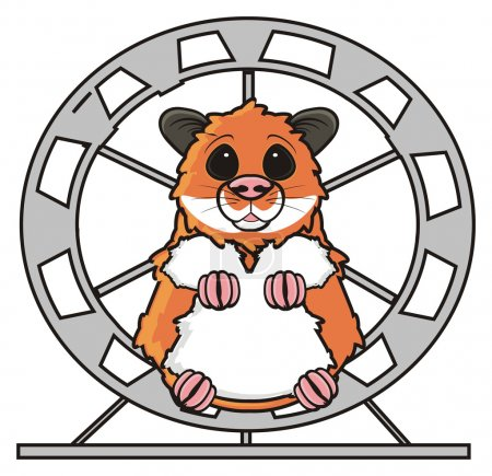 Photo for Hamster sitting in a round wheel folding legs together - Royalty Free Image